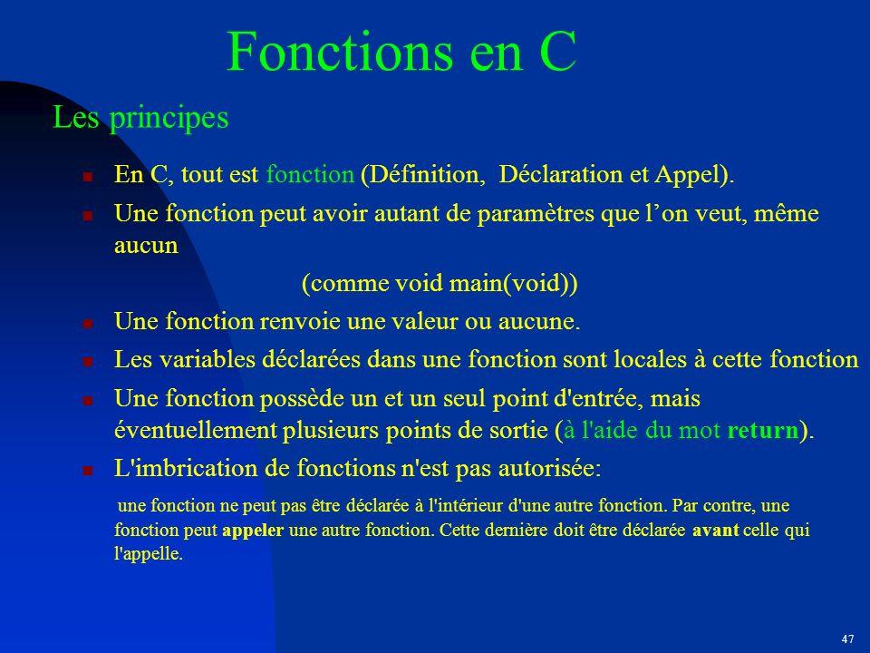 Fonctions en C Les principes