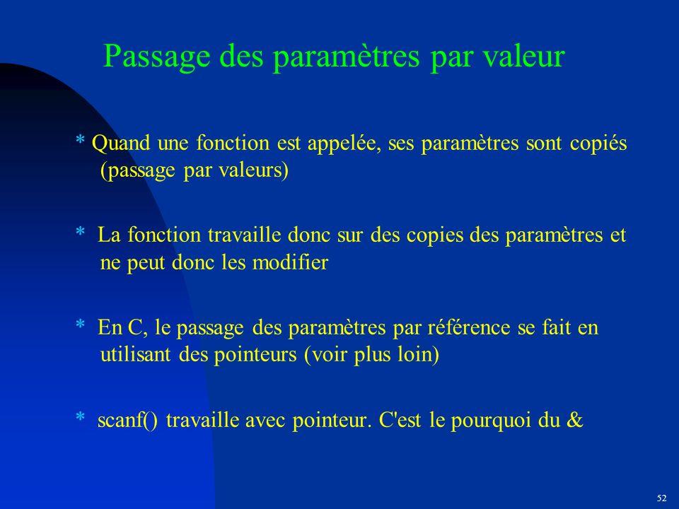 Passage des paramètres par valeur