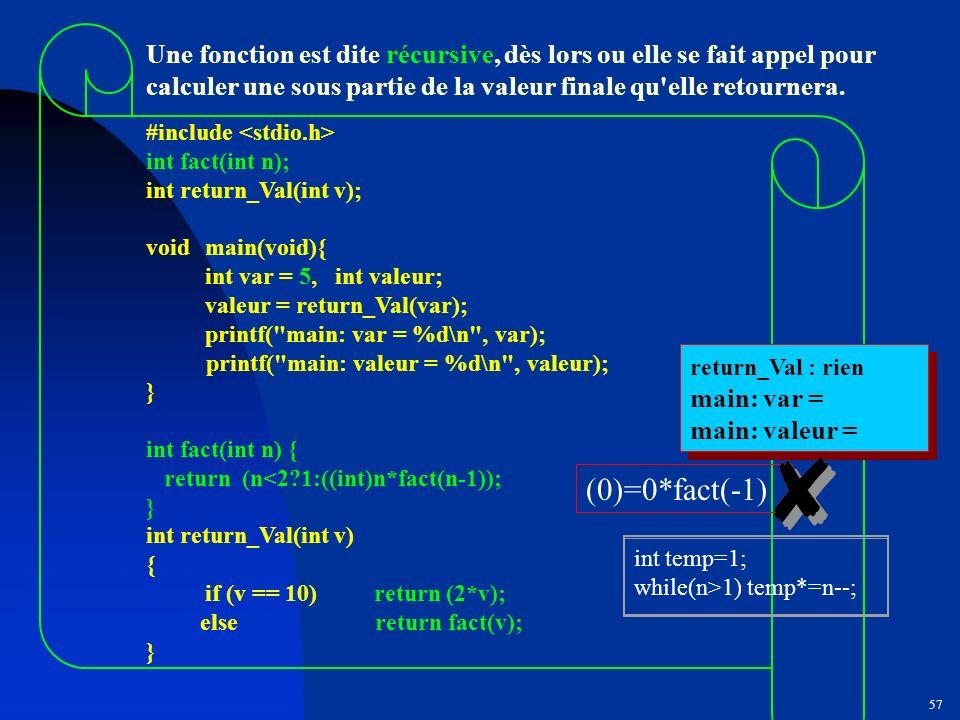 Une fonction est dite récursive, dès lors ou elle se fait appel pour calculer une sous partie de la valeur finale qu elle retournera.