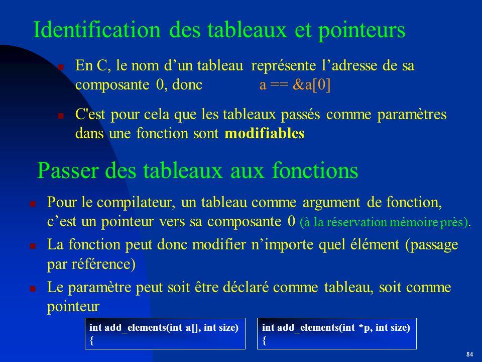 Identification des tableaux et pointeurs
