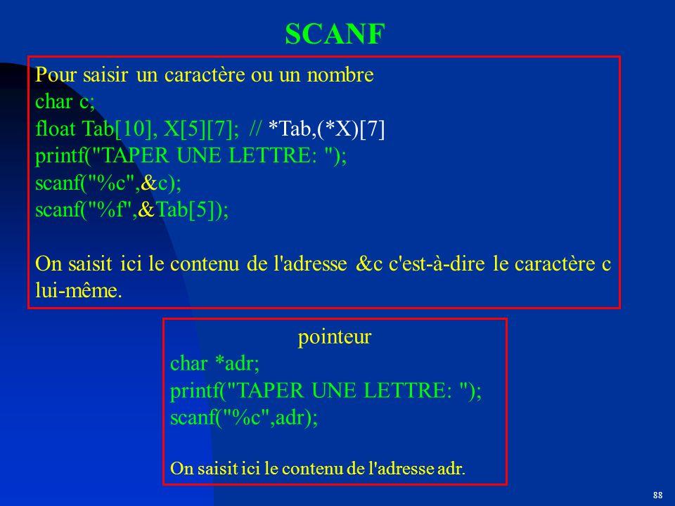 SCANF Pour saisir un caractère ou un nombre char c;