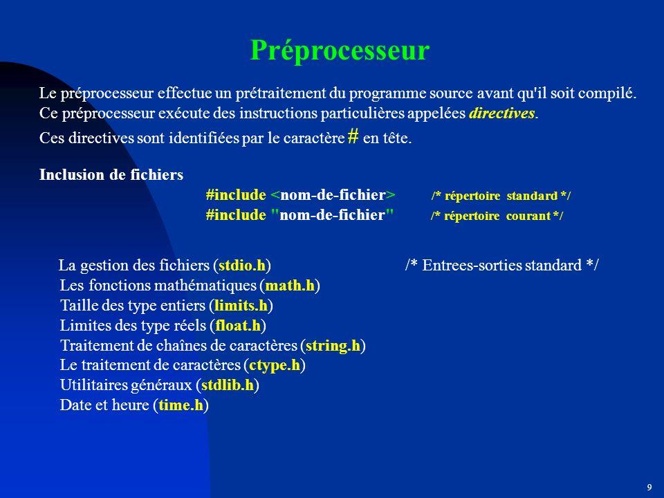Préprocesseur Le préprocesseur effectue un prétraitement du programme source avant qu il soit compilé.