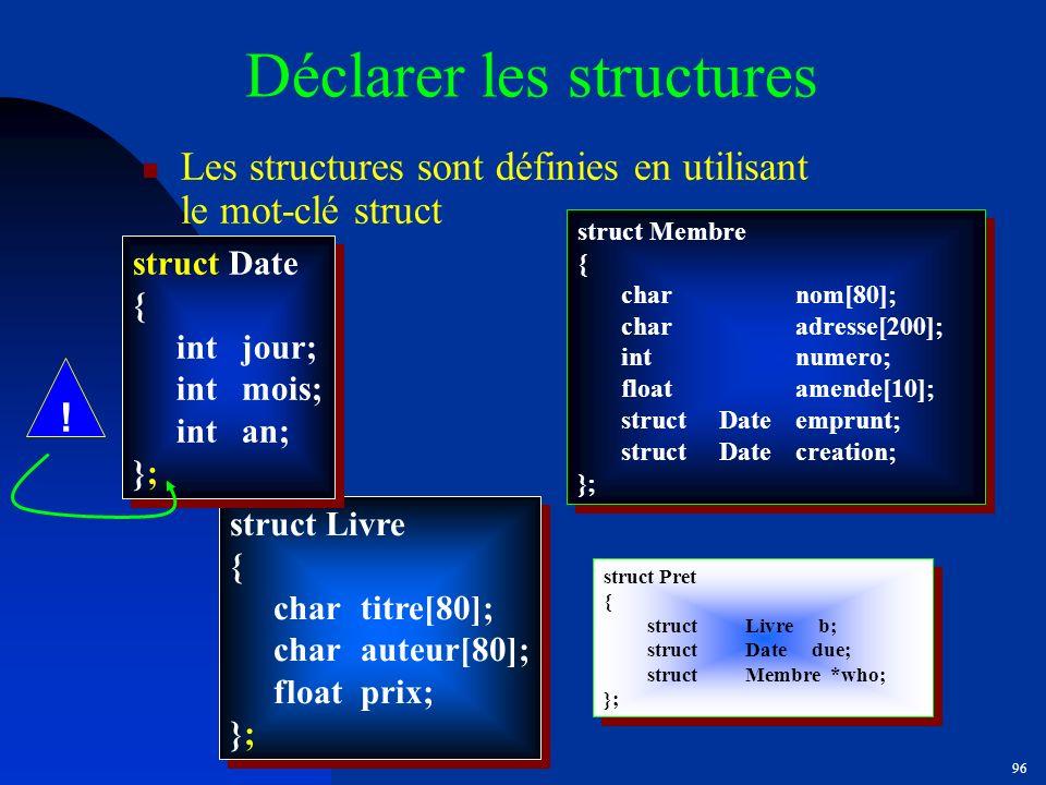 Déclarer les structures