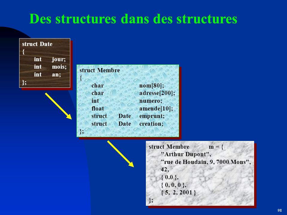 Des structures dans des structures