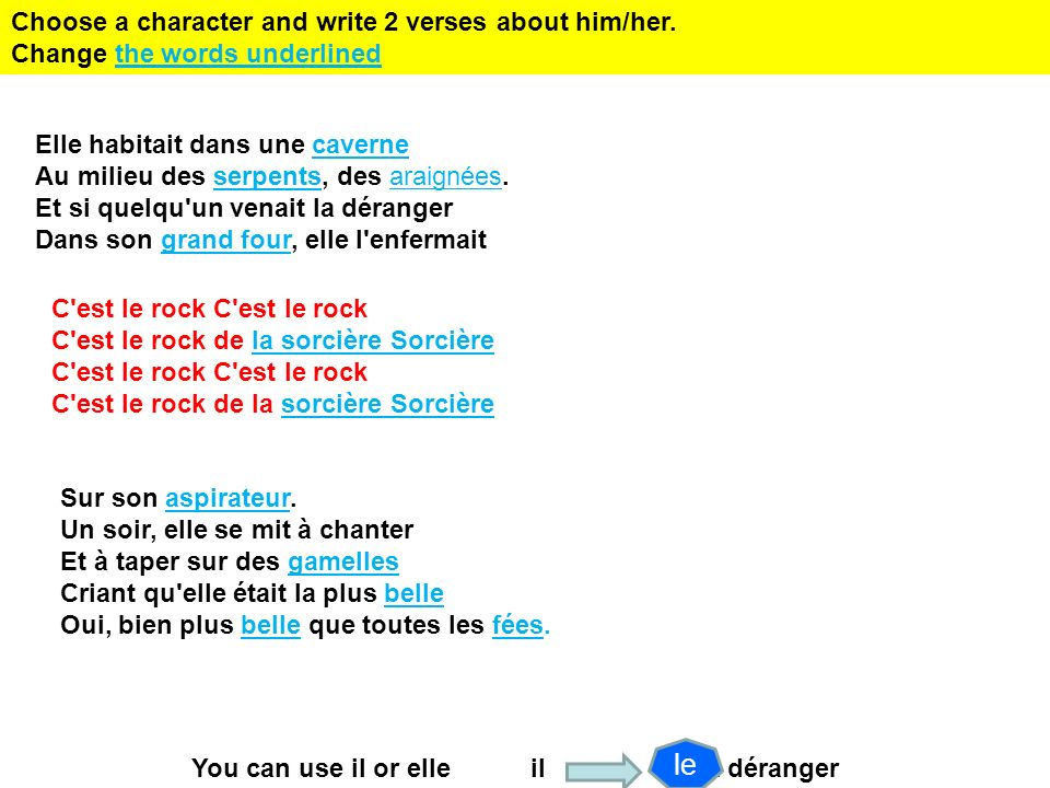 le Choose a character and write 2 verses about him/her.