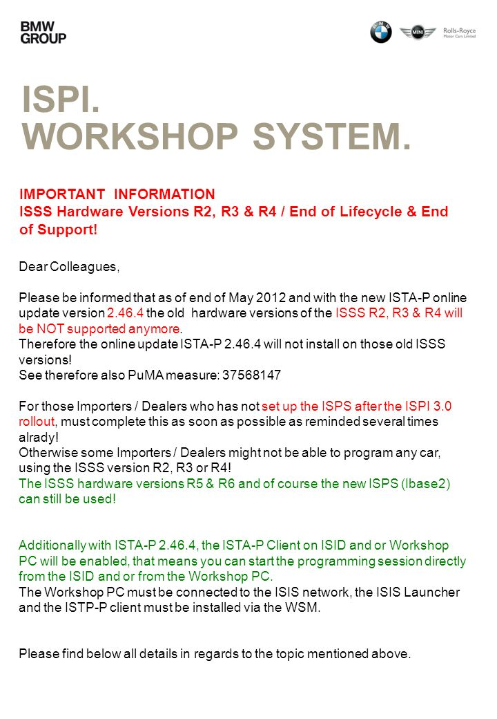 ISPI. Workshop system. IMPORTANT INFORMATION