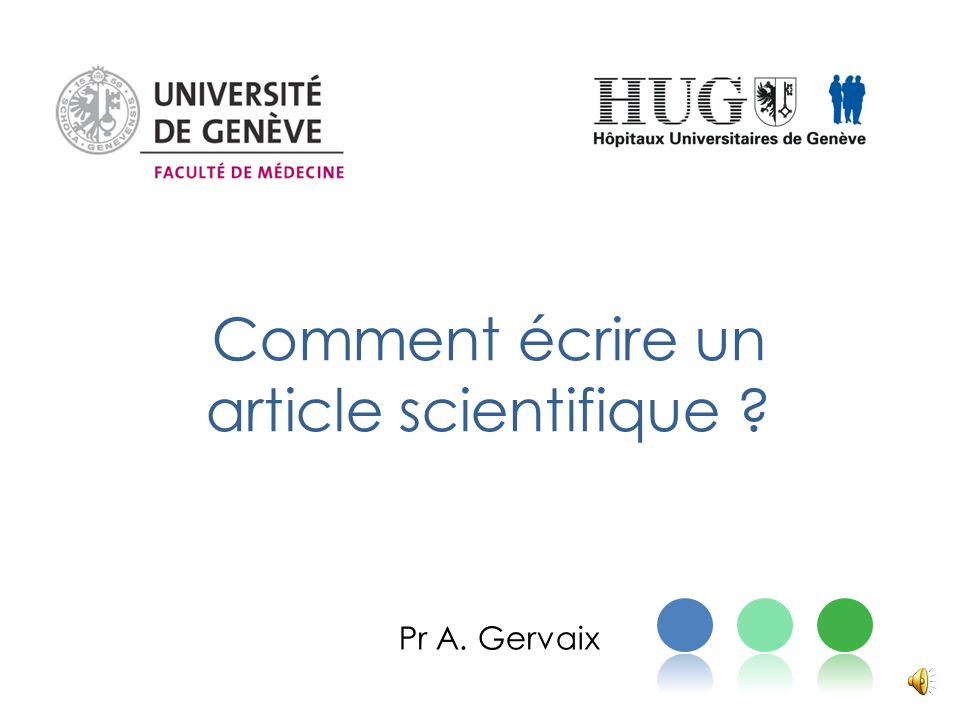 comment  u00e9crire un article scientifique