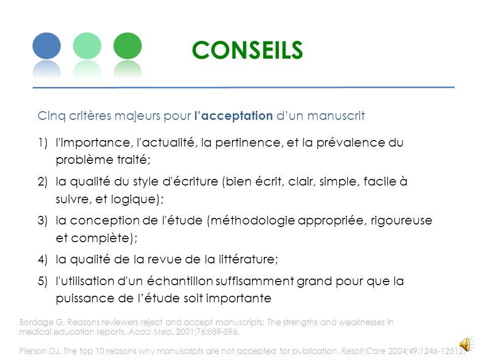 CONSEILS Cinq critères majeurs pour l'acceptation d'un manuscrit