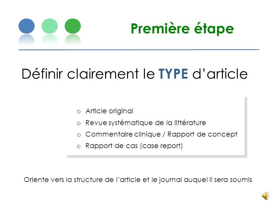 Définir clairement le TYPE d'article