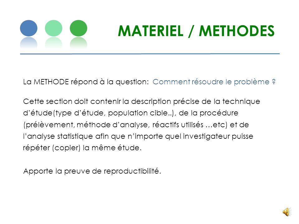 MATERIEL / METHODES La METHODE répond à la question: Comment résoudre le problème