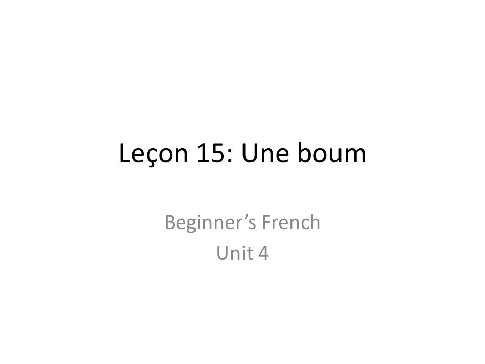 Beginner's French Unit 4