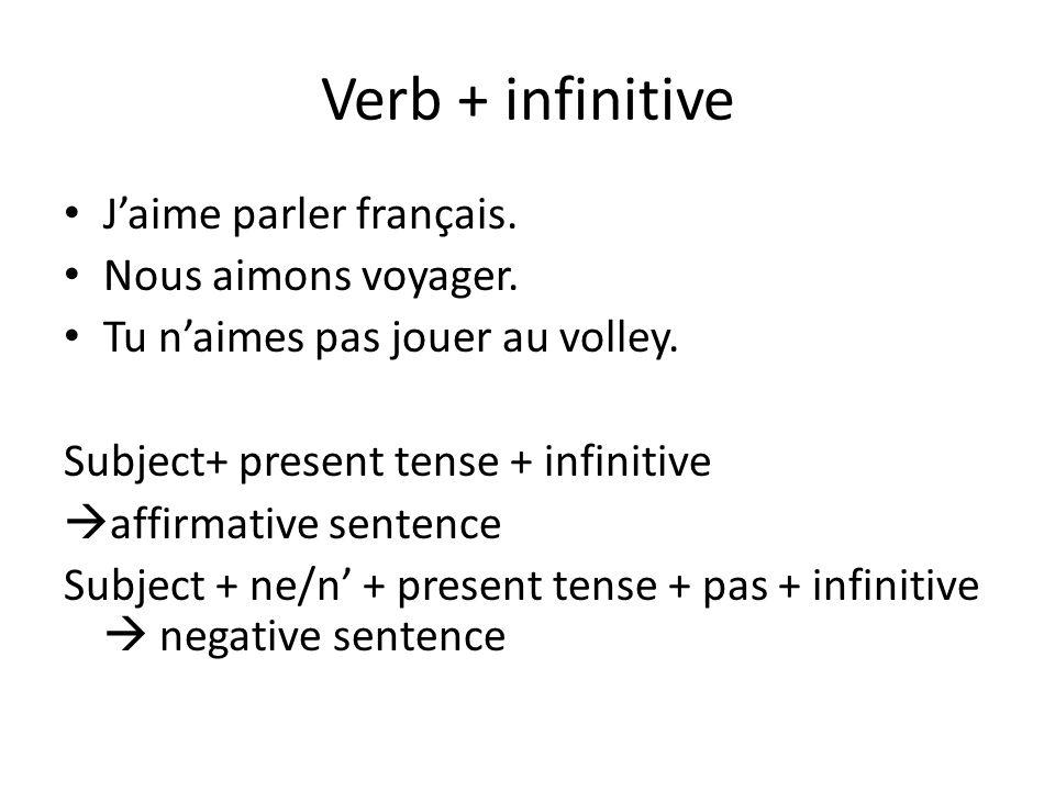 Verb + infinitive J'aime parler français. Nous aimons voyager.