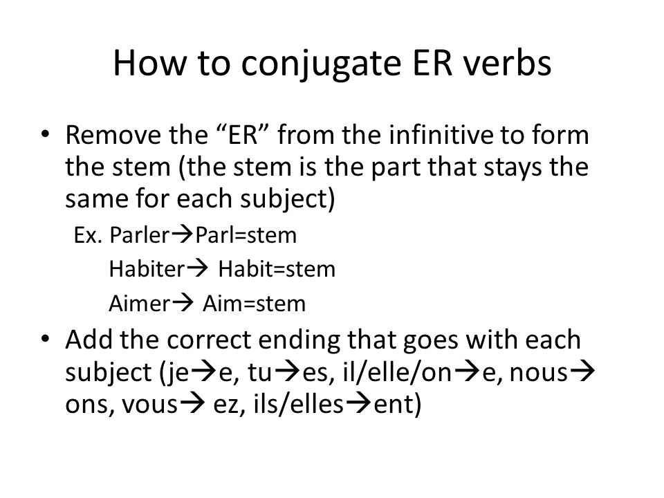 How to conjugate ER verbs