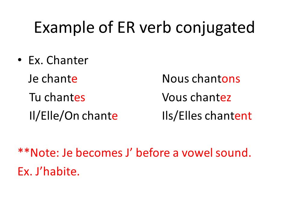 Example of ER verb conjugated