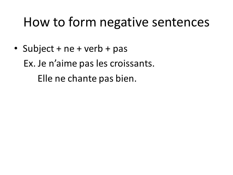 How to form negative sentences