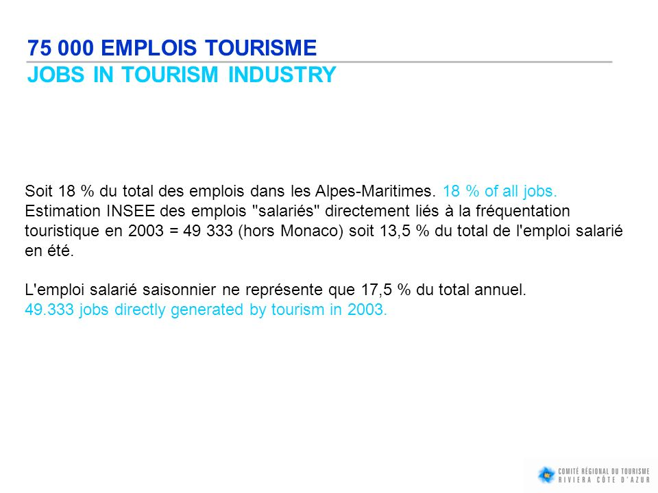 JOBS IN TOURISM INDUSTRY