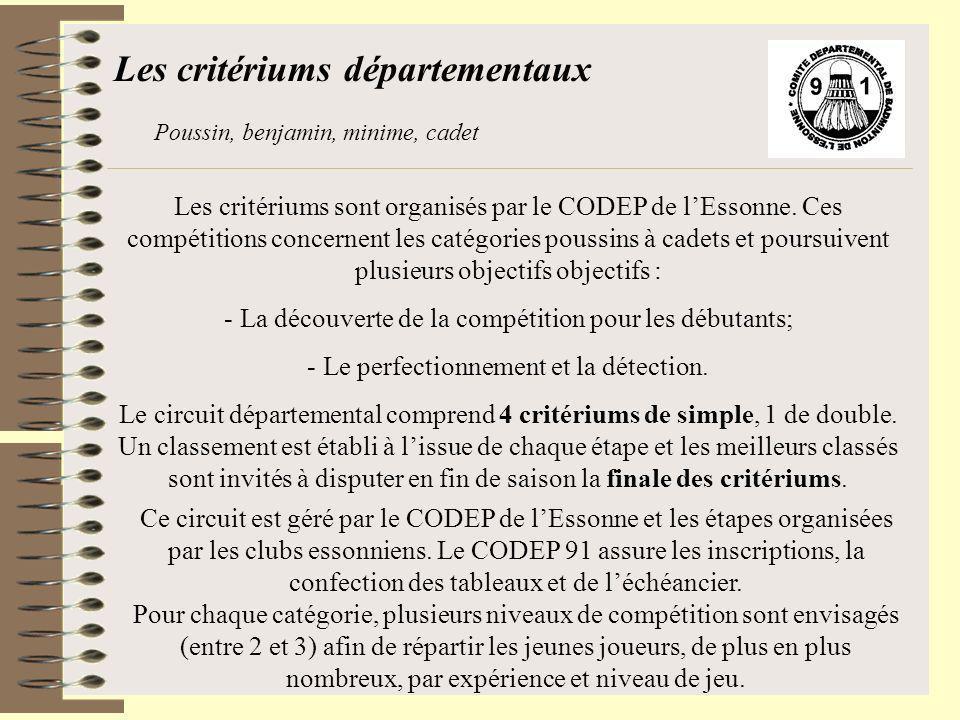 Les critériums départementaux