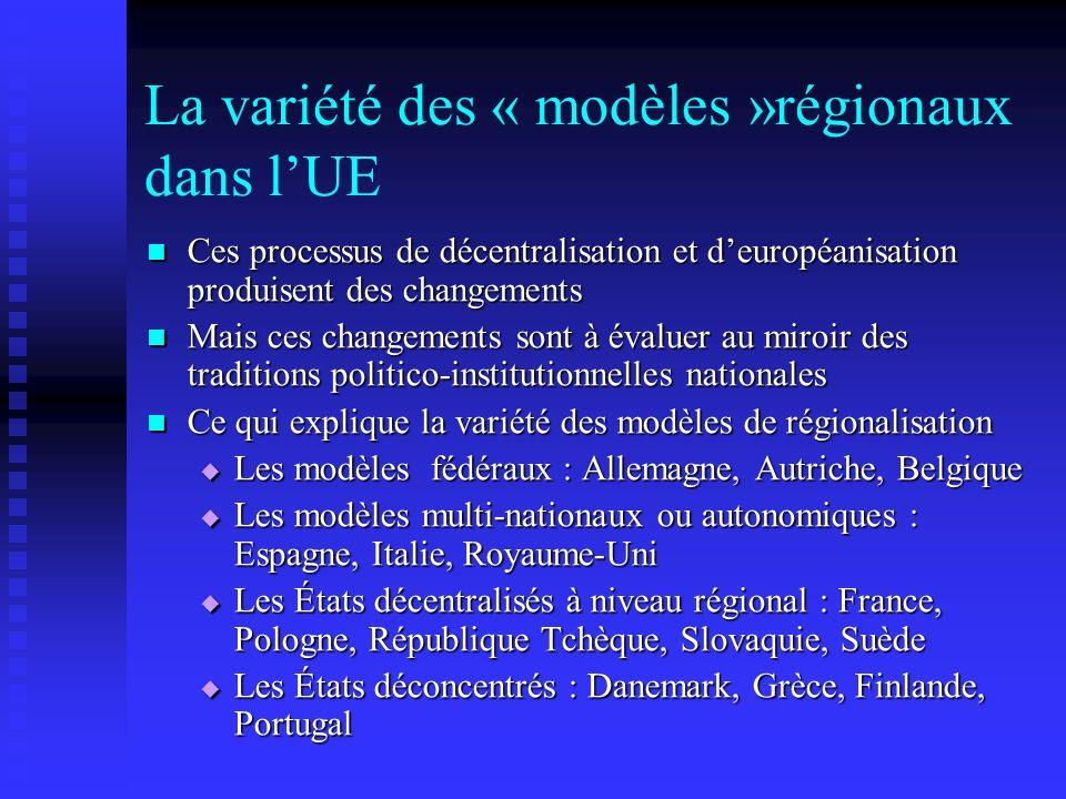 La variété des « modèles »régionaux dans l'UE