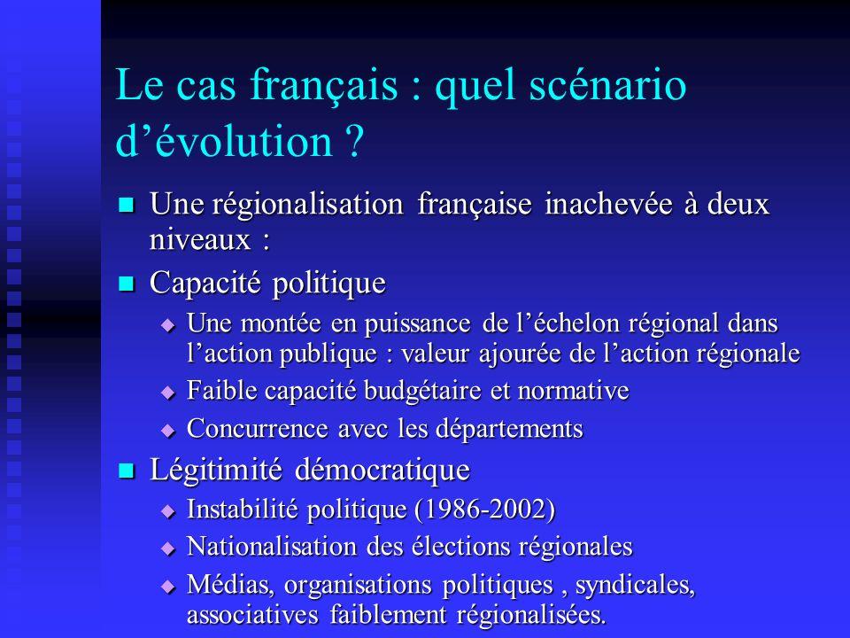 Le cas français : quel scénario d'évolution