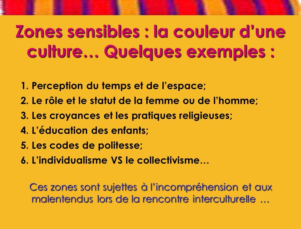 Zones sensibles : la couleur d'une culture… Quelques exemples :