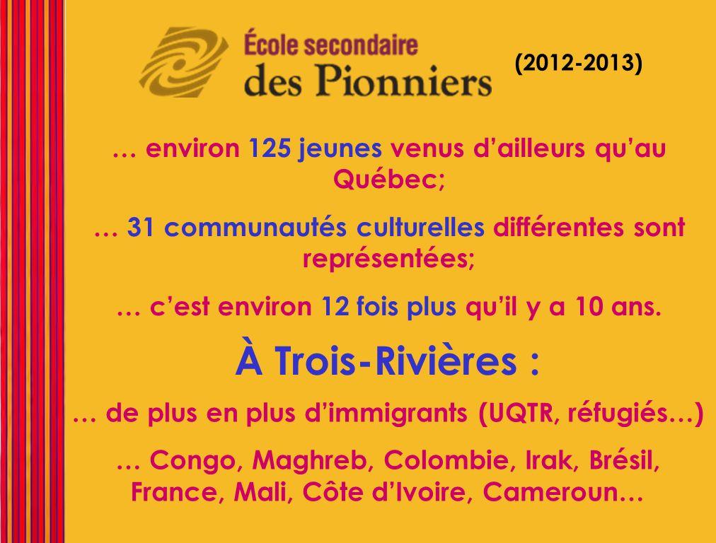 À Trois-Rivières : … environ 125 jeunes venus d'ailleurs qu'au Québec;
