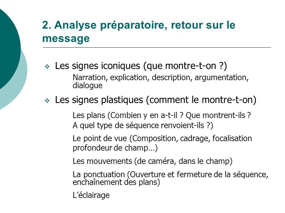 2. Analyse préparatoire, retour sur le message