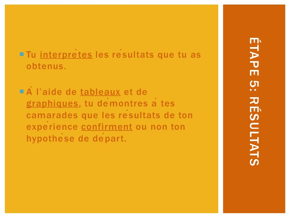 Étape 5: Résultats Tu interprètes les résultats que tu as obtenus.