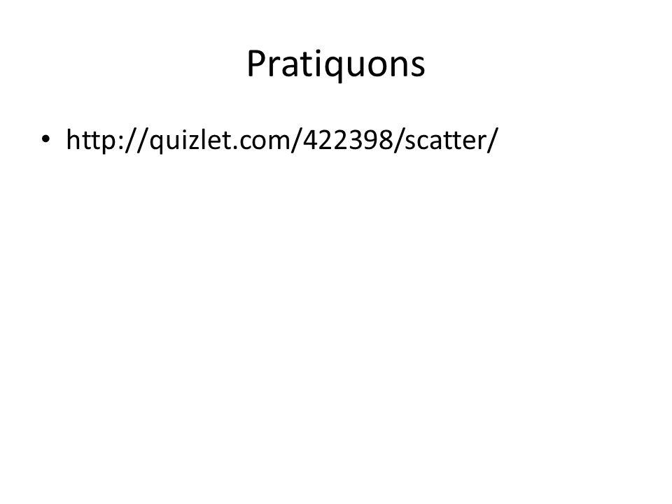 Pratiquons http://quizlet.com/422398/scatter/