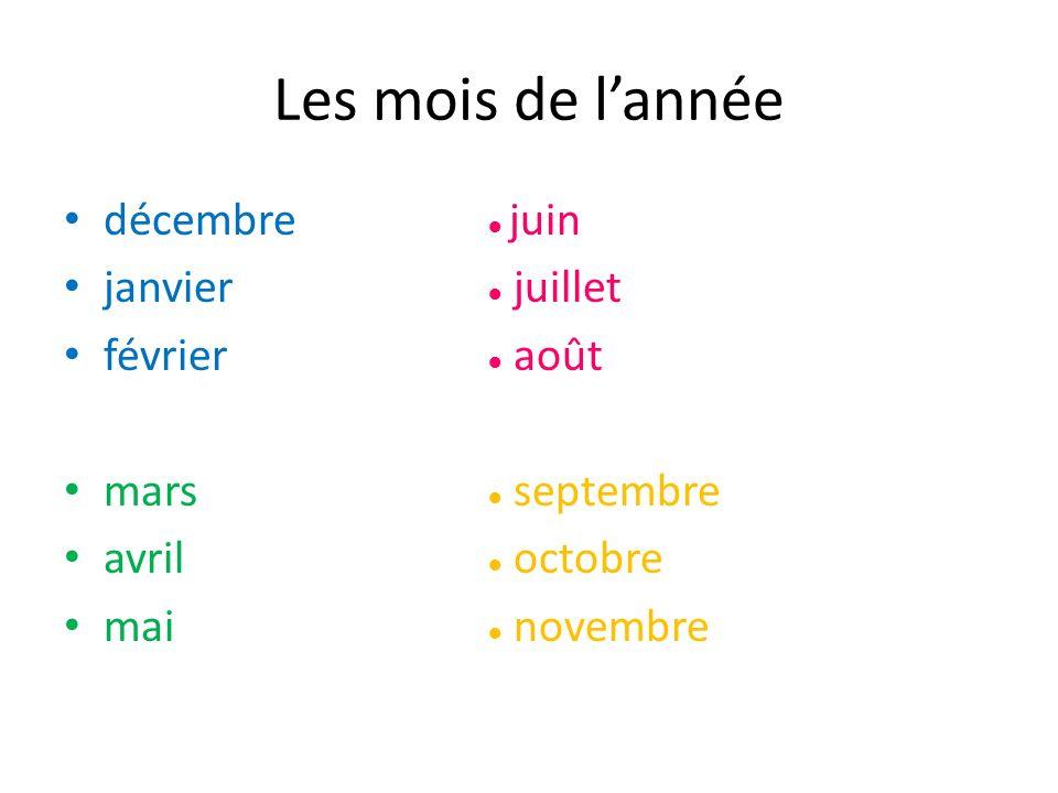 Les mois de l'année décembre ● juin janvier ● juillet février ● août