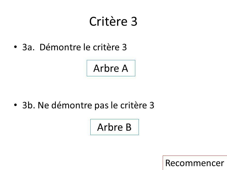 Critère 3 Arbre A Arbre B 3a. Démontre le critère 3