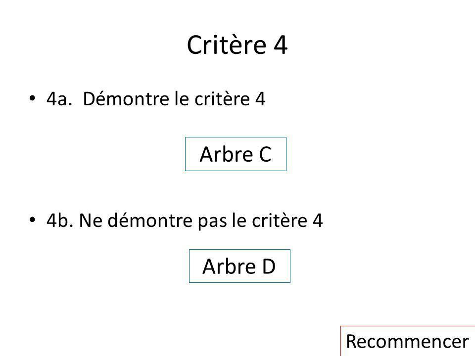 Critère 4 Arbre C Arbre D 4a. Démontre le critère 4
