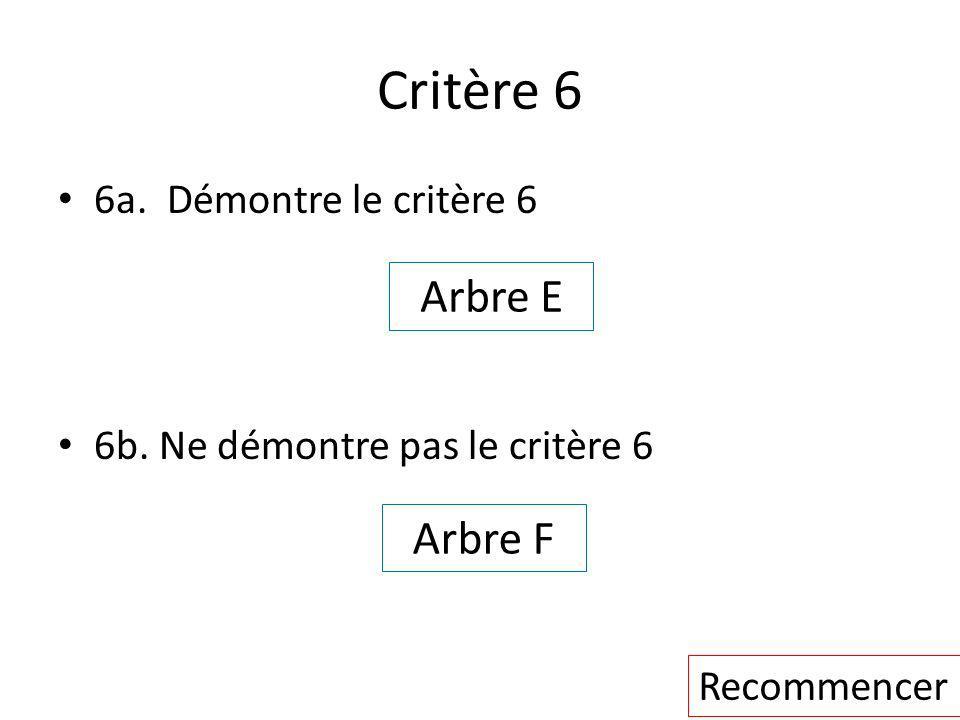 Critère 6 Arbre E Arbre F 6a. Démontre le critère 6