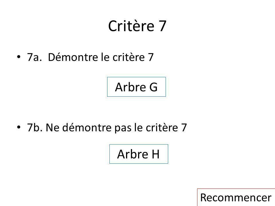 Critère 7 Arbre G Arbre H 7a. Démontre le critère 7
