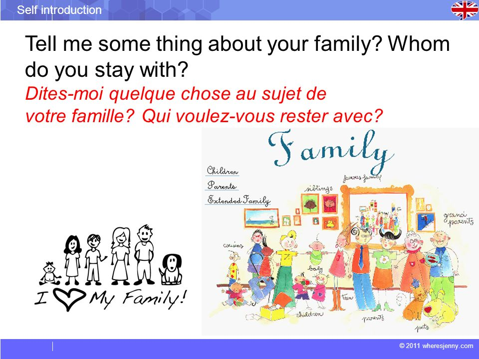 Tell me some thing about your family Whom do you stay with