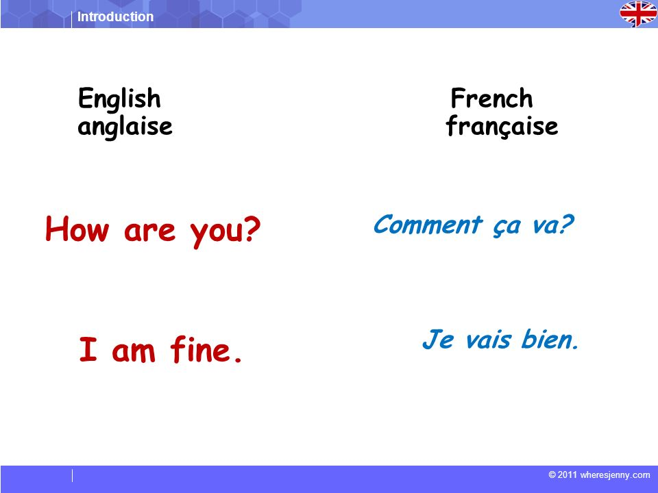 How are you I am fine. English French anglaise française
