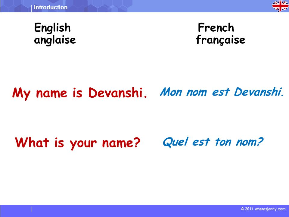 My name is Devanshi. What is your name English French anglaise