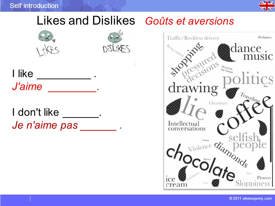 Likes and Dislikes Goûts et aversions