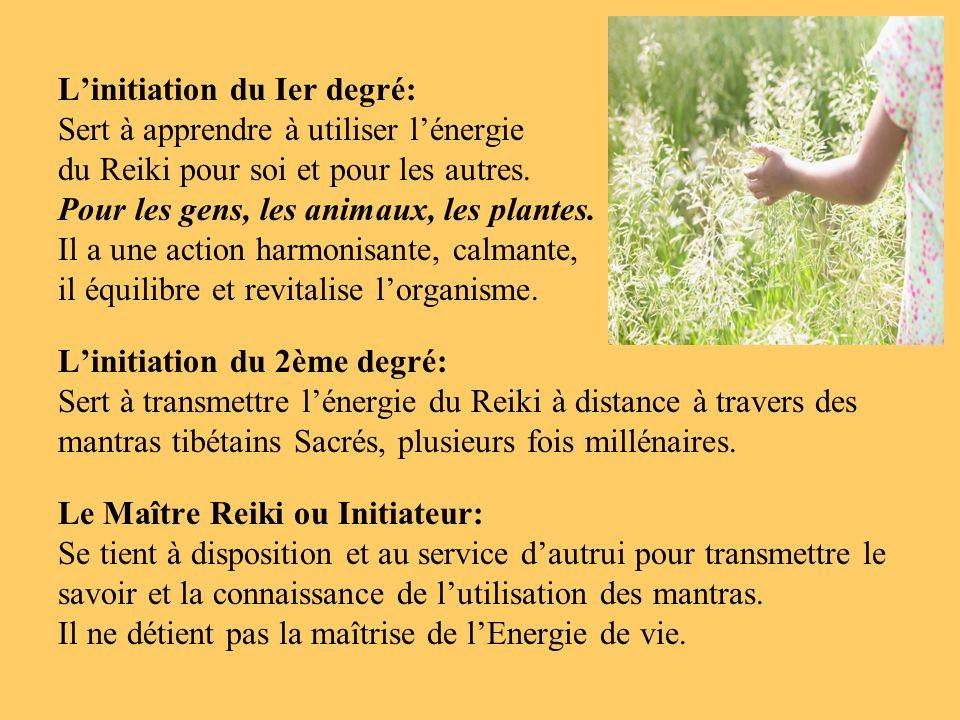 L'initiation du Ier degré: Sert à apprendre à utiliser l'énergie du Reiki pour soi et pour les autres.