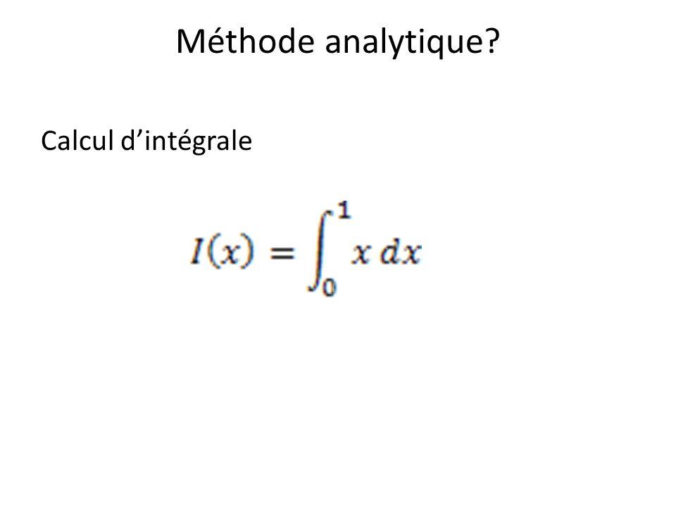 Méthode analytique Calcul d'intégrale