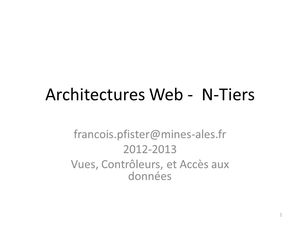 Architectures Web - N-Tiers