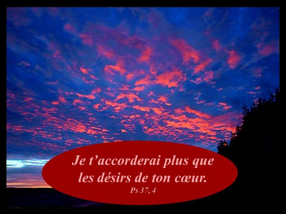 Je t'accorderai plus que les désirs de ton cœur. Ps 37, 4