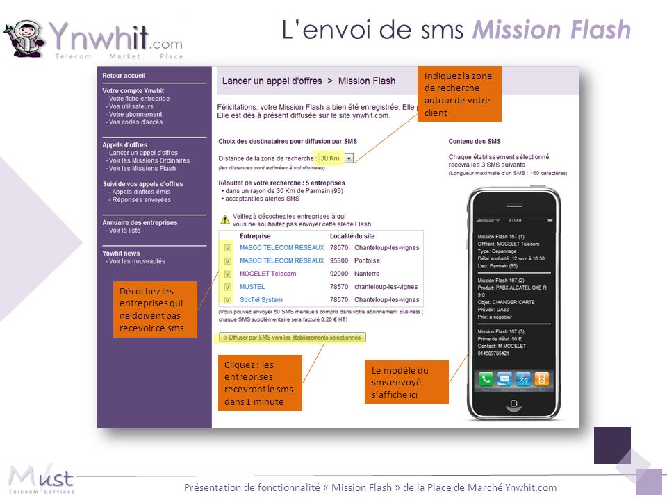 L'envoi de sms Mission Flash