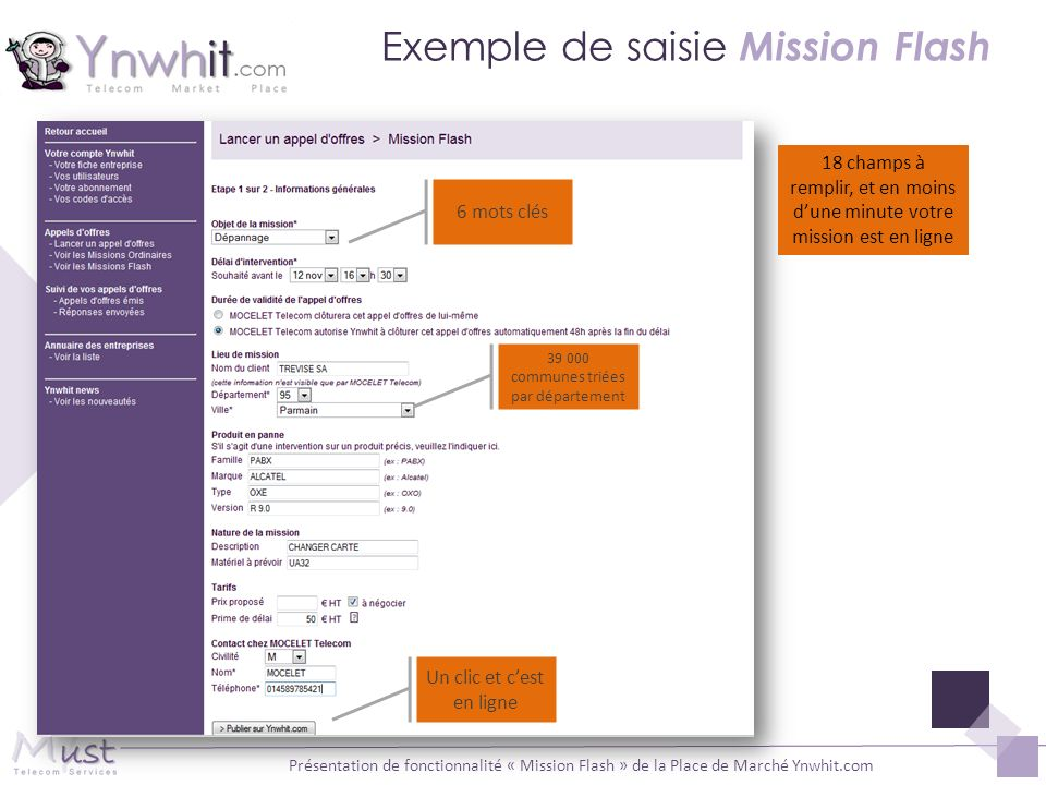 Exemple de saisie Mission Flash