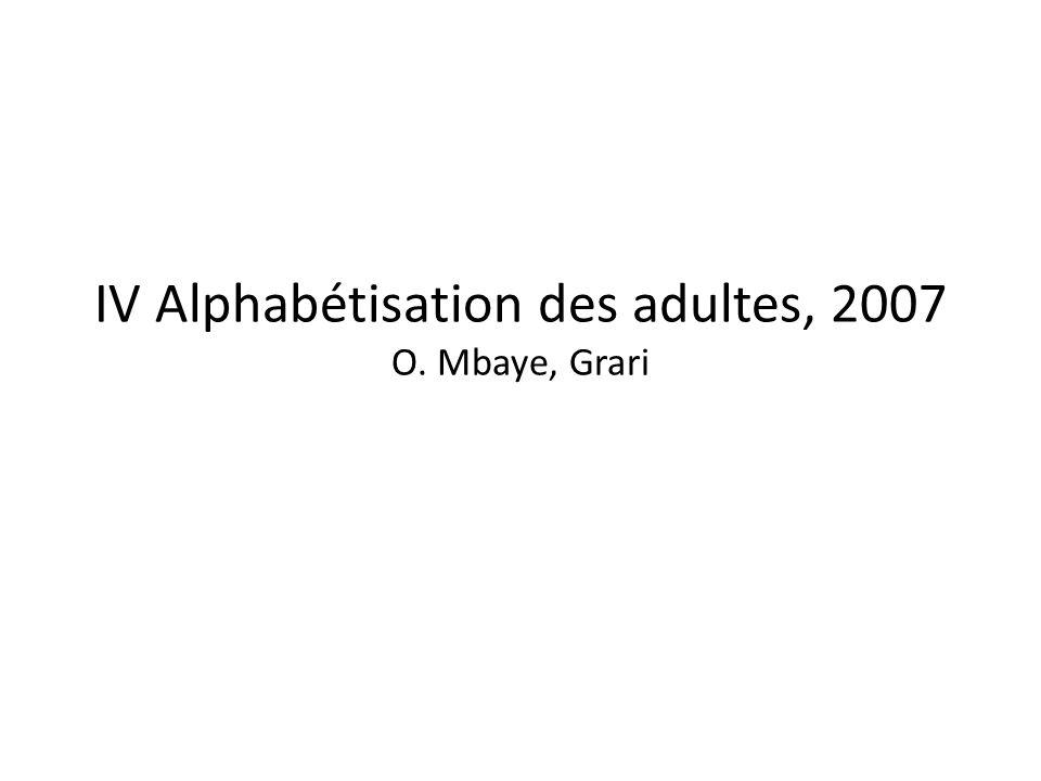 IV Alphabétisation des adultes, 2007 O. Mbaye, Grari