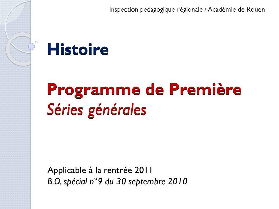 Histoire Programme de Première Séries générales