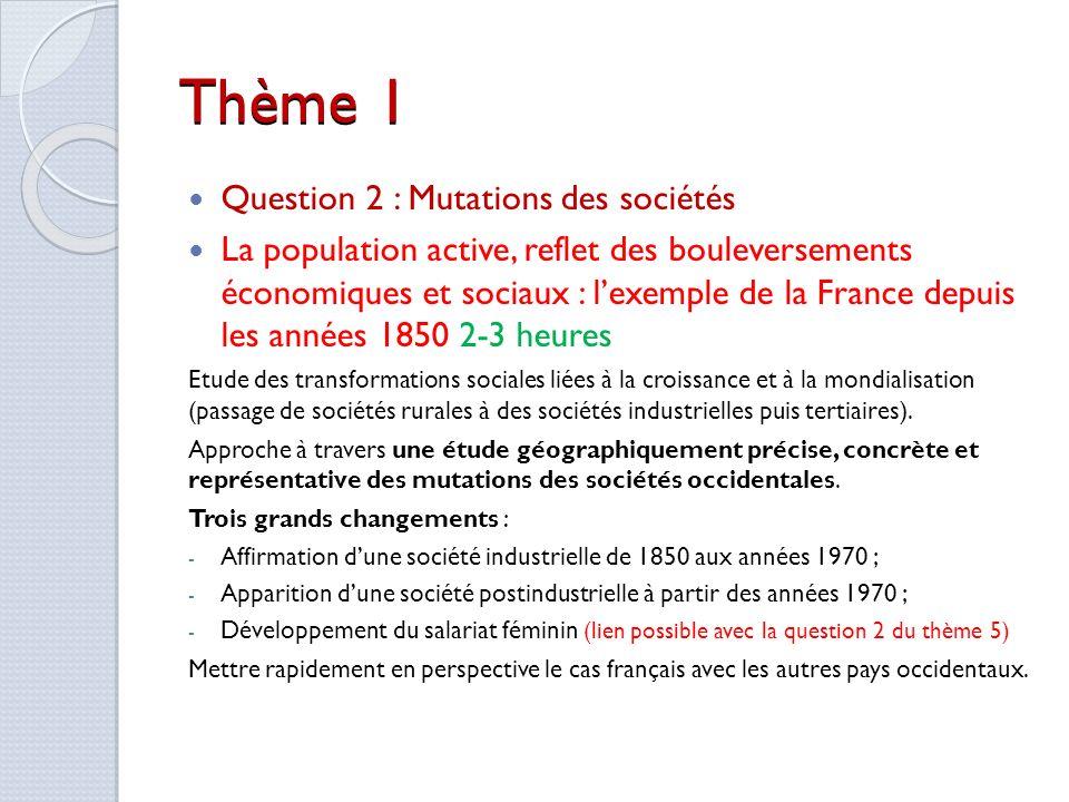 Thème 1 Question 2 : Mutations des sociétés