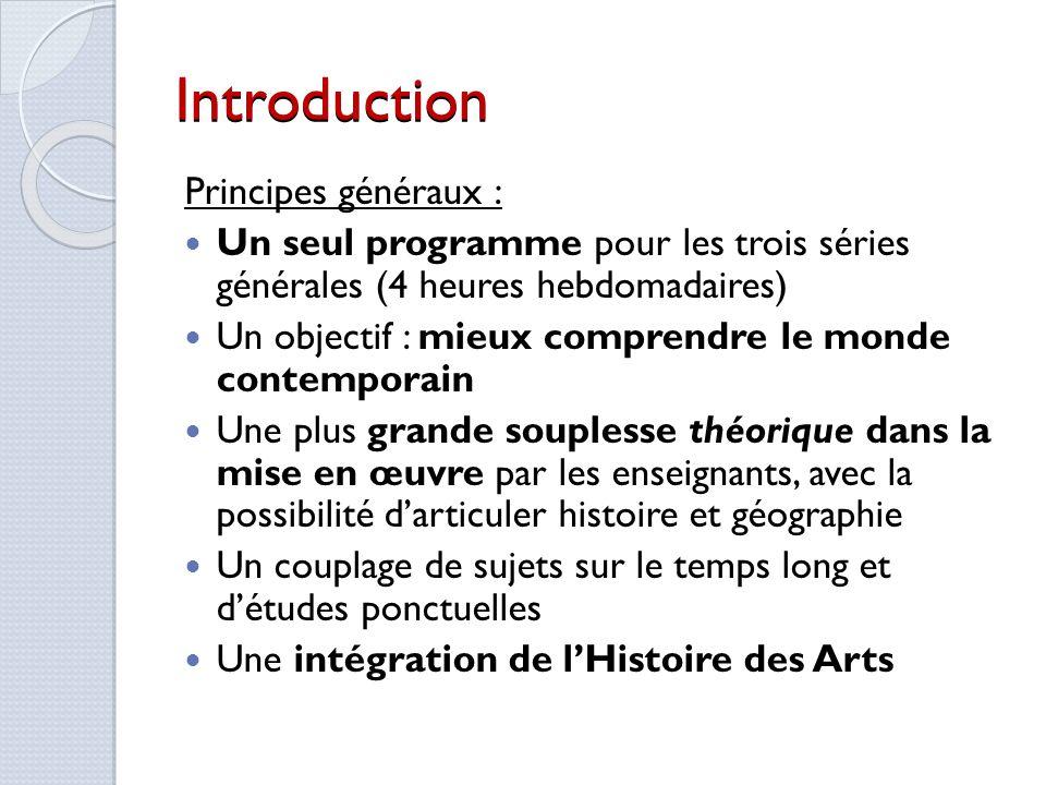 Introduction Principes généraux :
