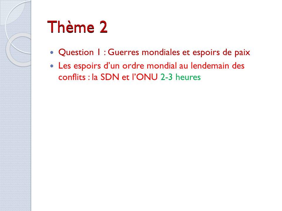 Thème 2 Question 1 : Guerres mondiales et espoirs de paix