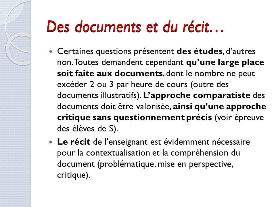 Des documents et du récit…