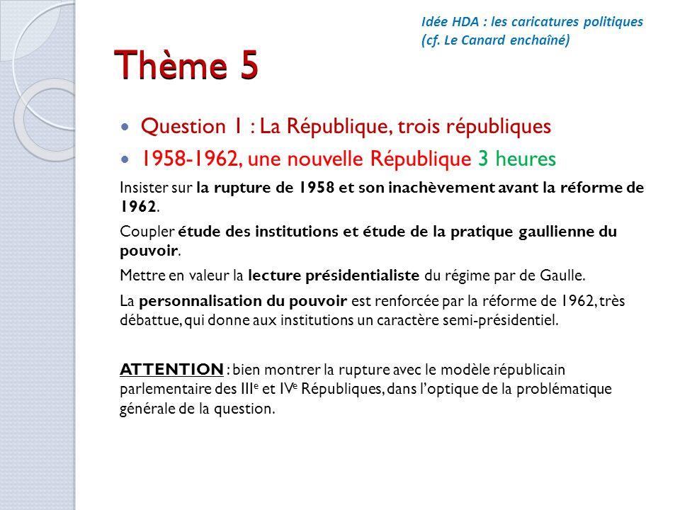 Thème 5 Question 1 : La République, trois républiques